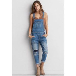 American Eagle Distressed Patched Jean Overalls